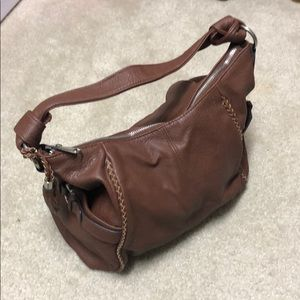 Slouchy brown faux leather shoulder bag